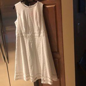White eyelet sleeveless dress lined size 14 W